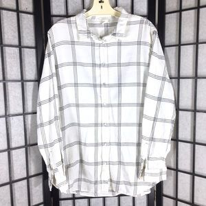 • H & M Button Up Shirt White Black Size 10